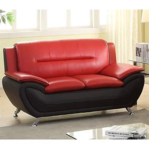 Kingway Furniture Montac Faux Leather Living Room Loveseat - Black/Red