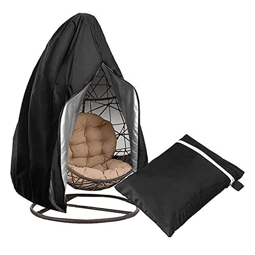 KTYXGKL Funda para Silla Colgante de jardín, Fundas para sillas giratorias para Patio, Fundas Protectoras Impermeables para mecedoras con cordón y Bolsa de Almacenamiento, Color Negro