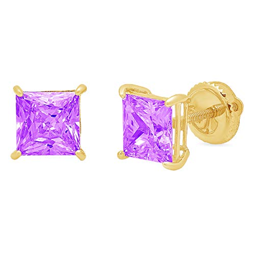 4.0 ct Princess Cut VVS1 Ideal Gemstone Solitaire Natural Purple Amethyst gemstone Designer Stud Earrings Solid 14k Yellow Gold Screw Back Clara Pucci