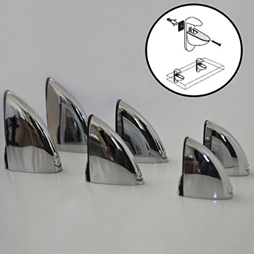 8x Regal-Halter Glasbodenträger verchromt - Stabile Regalträger für Glas- und Holzböden - verschiedene Größen (L)