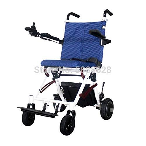 JINKEBIN Elettrico Sedia a rotelle Sedia a rotelle elettrica Pieghevole Leggera Prezzo competitivo (Color : Blue)