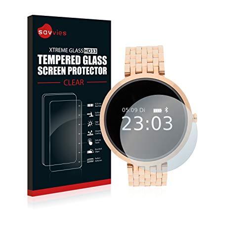 Savvies Panzerglas kompatibel mit Xlyne X-Watch Siona/XW Fit - Echt-Glas, 9H Härte, Anti-Fingerprint