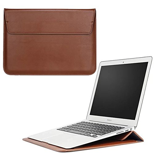 13.3 inch PU Leather Slim Laptop Sleeve Protective Case Bag with Stand Fit for 12.5-13.3 Ultra Thin HP Lenovo Asus MacBook Air Pro Dell LG Gram XIDU Samsung Notebook Ultrabook (13.3 Inch, Brown)