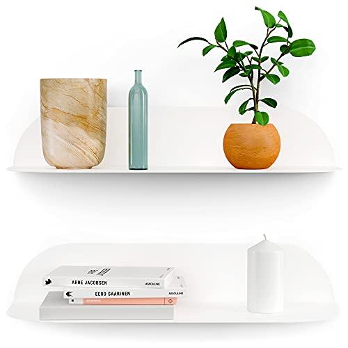 BLANCK Estantes de pared Flotantes de diseño – Decoración de habitación, salón, cuarto de baño, oficina, biblioteca y cocina, estantes colgantes de metal (2 unidades), color blanco