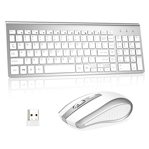 Wireless Keyboard and Mouse Combo, Kang RUI 2.4G USB Full Size Ultra Slim Mute Compatible with MAC PC Laptop Ultra-Thin Laptop Desktop, Rechargeable Ergonomic Full Size Design (New Silvery)