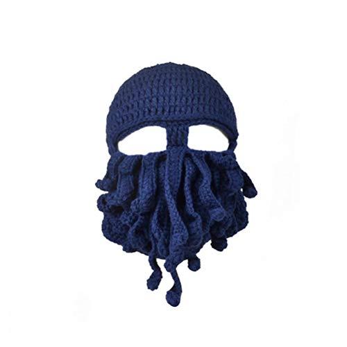 Fenical Neuheit handgemachte lustige Octopus Hut Tintenfisch gestrickte Kopf Maske Mützen häkeln Cap Unisex Geschenk für Bühnenshow (Navy)