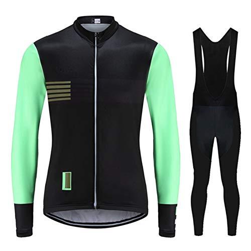 Juego de ciclismo de hombre de otoño Conjunto de manga larga MTB Ciclo de bicicleta Ciclo de ropa Desgaste Babero Gel Pad Traje (Color : 7, Size : XL)