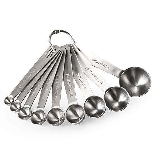 U-Taste Cucharas Medidoras Juego 9 Piezas Herramientas de Cocina Cucharas 18/8 Acero Inoxidable Utensilios de Cocina Juego de Cucharillas Para Cocina Medir Líquidos Sólidos