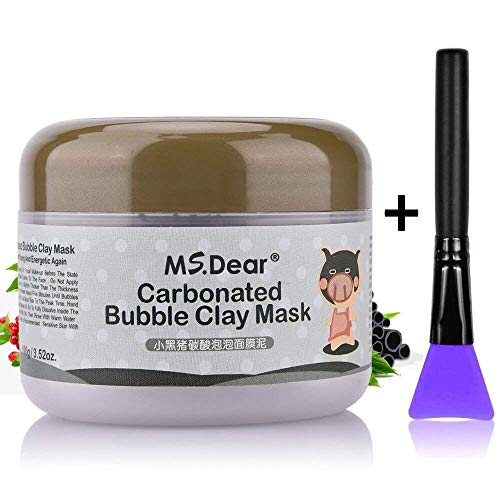 HailiCare Carbonated Bubble Clay Mask 3.52oz + Bamboo Charcoal Cleansing Brushes (Mask+Brush)