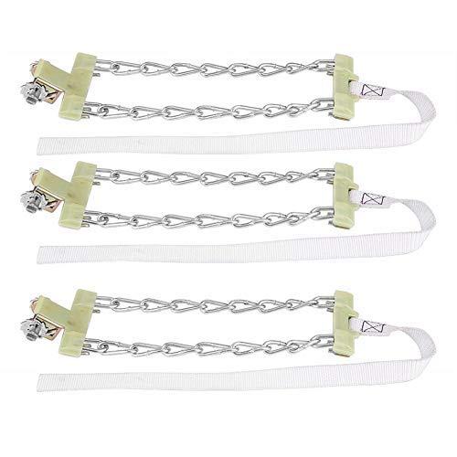 Akozon Anti-kettingbanden, 3-delig, ketting van staal, voor banden, sneeuwslip, veiligheid voor de auto, banden, clip-on-ketting (M)
