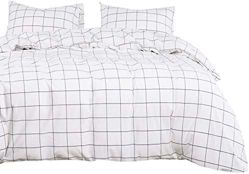 Wake In Cloud Washed Cotton Duvet Cover Set White with Black Grid Geometric Pattern Printed product image