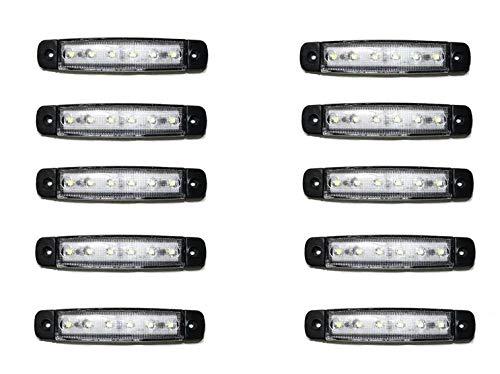10x 6 LED Weiss Begrenzungsleuchten 12-24V Volt Positionsleuchten Seitenleuchten LKW PKW Anhänger Umrissleuchten