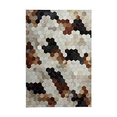 N/Z Daily Equipment Mosaik geometrisches Zuhause Wohnzimmer Sofa Couchtisch Kissen Schlafzimmer rechteckige Bettkante Decke (Farbe: SCHWARZWEISS Größe: 140 * 200 * 1CM)