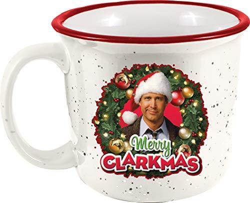 Spoontiques Merry Clarkmas Ceramic Camper Mug, 14 ounces, White