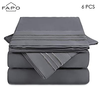 FAPO Queen Bed Sheets Set, 6 Piece Super Brushed Microfiber 1800 Bedding Sheets & Pillowcases-Wrinkle & Fade & Hypoallergenic Resistant Bed Sets-Easy Fit and Breathable & Cooling Sheets (Dark Grey)