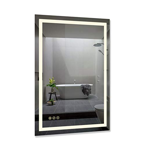 B&C 24x36 Inch LED Lighted Makeup Mirror For Bathroom Vanity With Touch Bottom For Color Temperature, Brightness&Defogger, Ultra-Thin Wall Mounted Mirror With High Lumen, Vertical/Horizontal(MD042436)