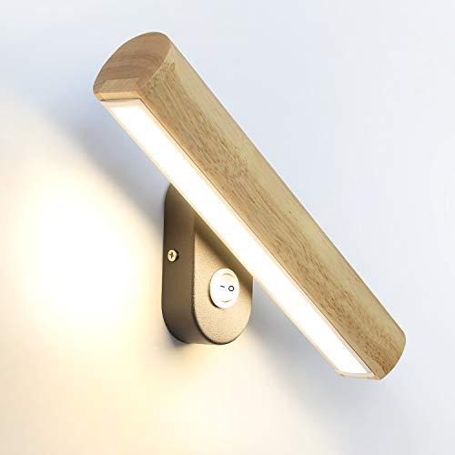 GBLY LED lámpara de pared madera con interruptor, giratorio de 350°, lámpara de cama de 6W blanco cálido/blanco frío/blanco natural conmutable, 32.5CM para sala de estar dormitorio pasillo escalera