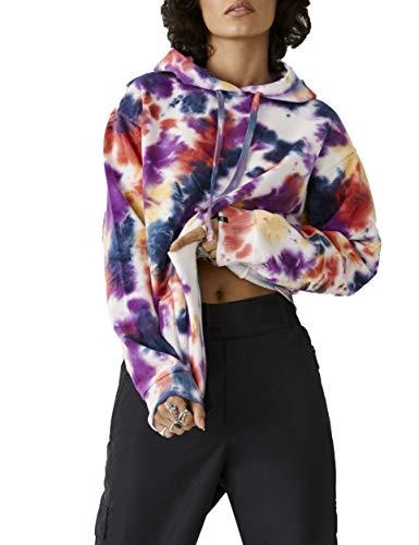 True Religion Damen Watercolor Relaxed Long Sleeve Hoodie Kapuzenpulli, Multi Aquarell, Large
