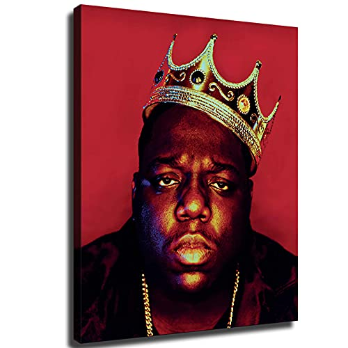 Music Style Poster Biggie Smalls Crown American Hip-hop Musician Rapper Canvas Poster Red Background Wall Decoration Painting (16×20inch-No Framed)