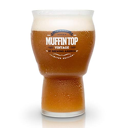 Beer Glasses - Nucleated Pint Glass - The Muffin Top Glass for Enhanced Taste of Beer and Cider - Tulip Shape and Nucleation for Better Tasting Beer, IPAs and Cider (Muffin Top Logo Single)