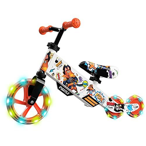 Small Rider Turbo, Bicicleta sin Pedales Equilibrio, Rueda Variable de PU con luz, Asiento y Manillar Ajustables, Increíble Regalo de cumpleaños, Balance Bike para Bebé de 18 Meses o más (Naranja)