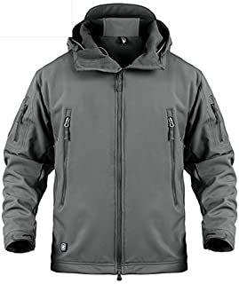 LASIUMIAT Men's Special Ops Softshell Jacket Fleece Coat Military Tactical Hiking Camouflage Hunting Jackets Hooded