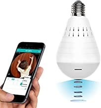 Light Bulb Cameras Surveillance Wireless, 2.4GHz 1080P WiFi Fish-Eye Lens 360° Wireless Security IP Panoramic Camera, with Night Vision, Alarm, Suitable for Baby, Home, Office, Pet Monitor