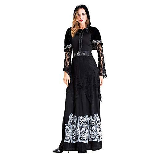 BEPM Ropa De Halloween Disfraz De Zombie Halloween Vampiro Negro Gtico Steampunk Bridecostume Adulto Earl Cosplay con Capucha Horror Vestido Carnaval-L