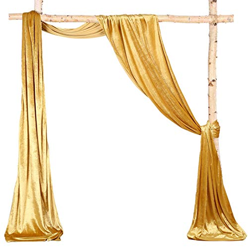 Wedding Arch Drapes 2 Panels 6 Yards Gold Velvet Fabric Sheer Backdrop Curtains for Parties Ceiling Stage Reception Drapery Fabric Decor