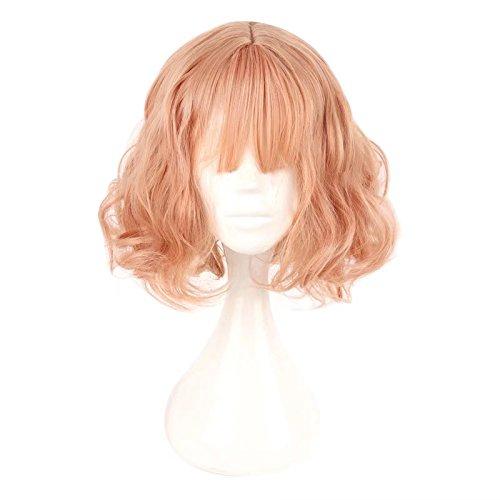 Lisanyeu - perruque pour femme - 35 cm - raie au milieu - cheveux mi-longs de couleur rose pastel
