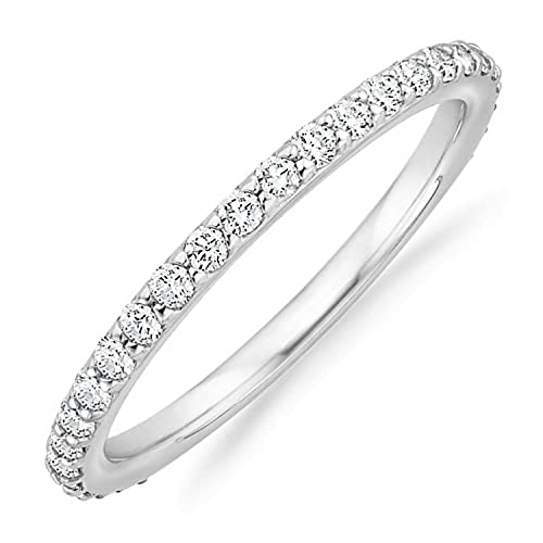PAVOI 14K Gold Plated Cubic Zirconia Diamond Stackable Eternity Bands White Gold for Women Size 9