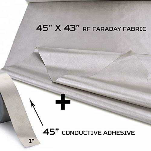 "RF Faraday Fabric, Conductive Fabric, EMF Shield, Faraday Cage, RFID, Conductive Shielding, Military Grade, EMI, WiFi, Cell Phone, 45"" x 43"" /13sq. ft./1.47 Sq. Yds. + 45""L Conductive Tape"