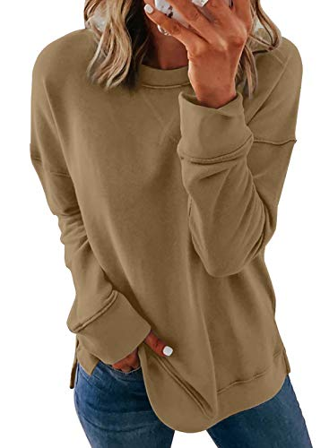 HOTAPEI Ladies Fashion Crewneck Tie Dye Kakhi Sweatshirt Solid Color Oversized Loose Soft Long Sleeve Fall Pullover Tops Shirts Sweatshirts for Women Teen Girls UK Size 10 12