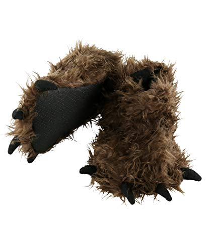 Lazy One Animal Paw Slippers for Kids and Adults, Fun Costume for Kids, Cozy Furry Slippers, Sasquatch (Bigfoot, Small)
