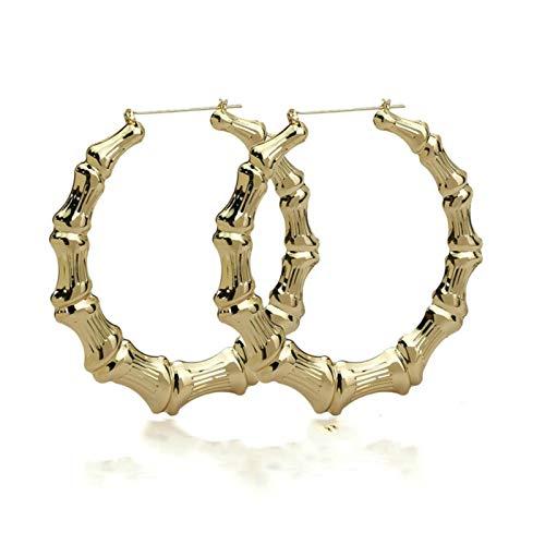 QIN Acero Inoxidable bambú aro Raza Colgando Orejas para Mujer círculo Grande círculo Ronda Pendientes con Encanto aro Oreja Oreja Oro joyería Regalo