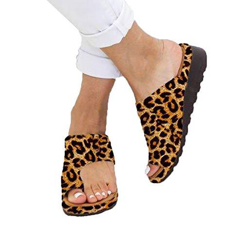 AARDIMI Sandalen Damen Frauen Flip Flops Kreuzband Geflochtene Sandalen Roman Schuhe Sommer Woven Strap Mode Strand Hausschuhe Flacher Anti Rutsch (43 EU, Z-Brown-1245)