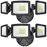 Onforu 2 Pack 50W LED Flood Light Outdoor, 5000LM LED Security Light Fixture with 3 Adjustable Heads, IP65 Waterproof, 5000K Switch Controlled Wall Mount Security Light for Eave, Outside Garden