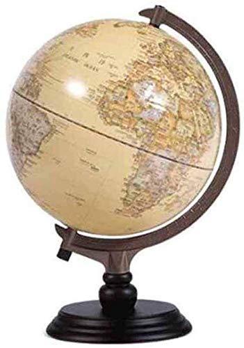 Globo de 10 '/ 25 cm Vintage Decorativo Escritorio político World-Rotating Full Earth Geography Educativo-para niños, Adultos, Escuela, hogar, Oficina