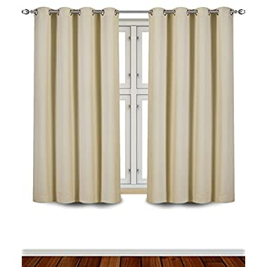 Utopia Bedding - Blackout Room Darkening and Thermal Insulating Window Curtains / Panels / Drapes - 2 Panels Set - 8 Grommets per Panel - 2 Tie Back Included (Beige, 52 x 63 with Grommets)