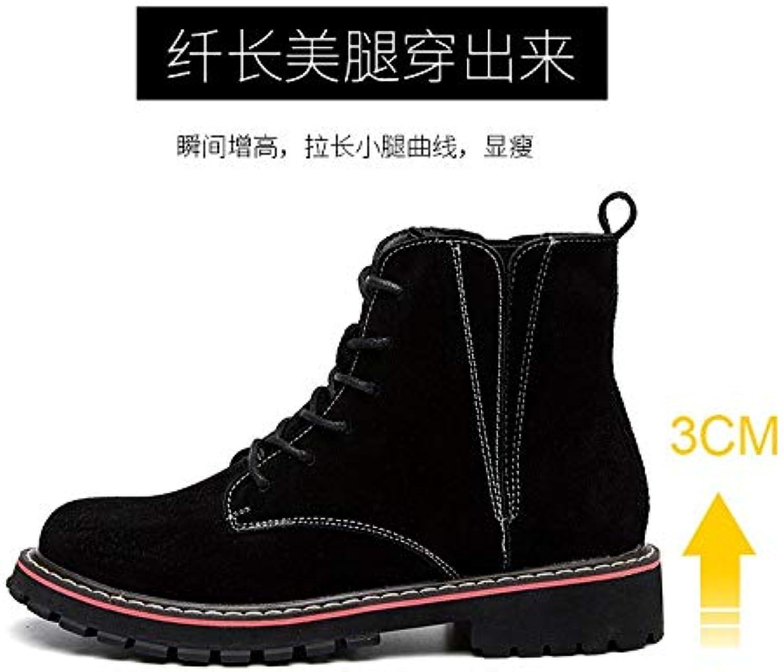 Top Shishang Leder Leder Martin Stiefel Herbst und Winter niedrige Ferse Damen Stiefel, schwarz, 38  Verkauf Online-Rabatt niedrigen Preis