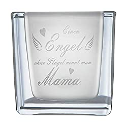 van Hoogen  Leonardo Teelicht Engel ohne Flügel nennt Man Mama Windlicht mit Gravur | Geschenk Muttertag + Mutter + Mama + Mutti - WÜRFEL