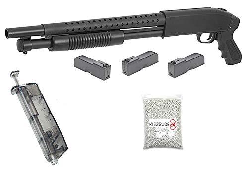 KS-11 Klassische Airsoft Schrotflinte, schwarz - Länge 670mm - Kaliber 6mm - <0,5J - Ink. 3 Magazinen, Speedloader und 6MM Premium BBS - Terminator PUMPGUN - Shot Gun - Softair Pumpguns