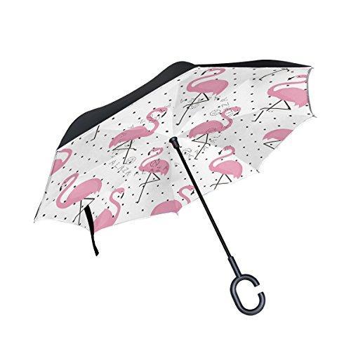 ALAZA Polka Dot Pink Flamingo Bird Inverted Umbrella, Large Double Layer Outdoor Rain Sun Car Reversible Umbrella