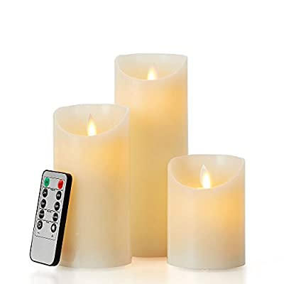 "glowiu Flameless Flickering LED Candles Moving Flame, Battery Candles Set of 3(H 4"" 6"" 8"" x D3) Real Wax Pillar with 10-Key Remote Multi-Function"
