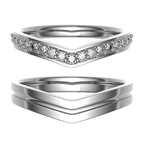 [ココカル]cococaru ペアリング 結婚指輪 シルバー 2本セット マリッジリング ダイヤモンド 日本製(レディースサイズ17号 メンズサイズ8号)