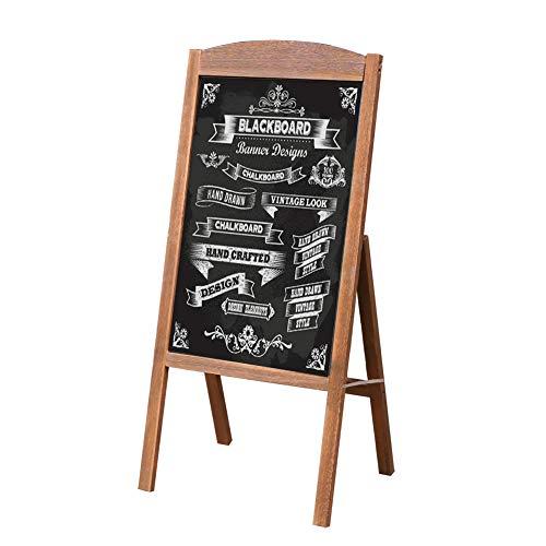 UNHO Pizarra de Madera de Pie Pizarra de Dibujo Magnética Tablero Publicitario para Menú Anuncios Promociones Pizarra Plegable para Restaurante Cafetería Bar Color Marrón