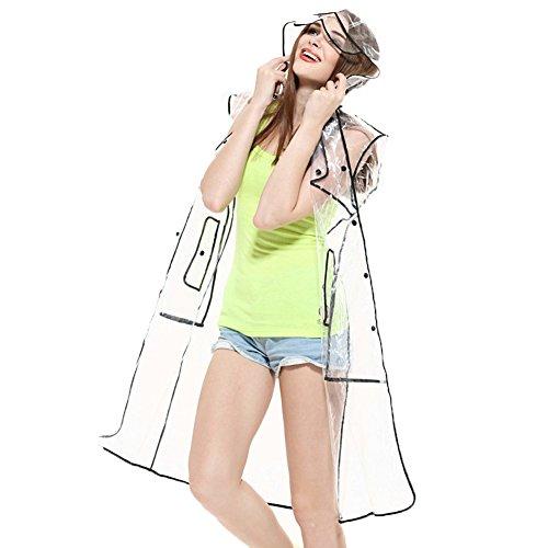 Ouvin - Impermeabile impermeabile da donna con cappuccio in EVA, leggero e lungo Trasparente-Nero Etichettalia unica