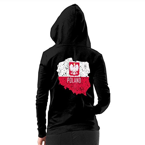 Women's Brushed Full Zip Hoodie Jacket Poland Map Polish Flag Hooded Sportswear Novelty Pullover Hoodies Workout Track Running Sweatshirts with Pockets, L
