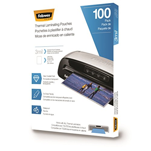 Fellowes Thermal Laminating Pouches/Sheets Letter Size 9 x 115Inches 3 mil 100 pack 5743301