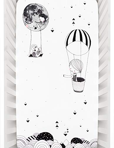 Rookie Humans 100% Cotton Sateen Fitted Crib Sheet: Frieda & the Balloon, Modern Nursery, Use as a Photo Background for Your Baby Pictures. Standard Crib Size (52 x 28 inches) (standard cotton sateen)
